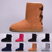 Wholesale orange canvas paintings resale online - New winter Australia Classic snow Boots good fashion WGG tall boots real leather Bailey Bowknot women s bailey bow Knee Boots mens shoes