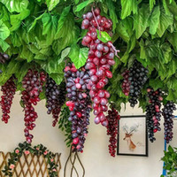 ingrosso decorazione di nozze-Frutta artificiale Grapes Cluster 8 colori Frutta falsa Craft Plate Verde Viola Rosso Nero per Wedding Party Home Garden Bar Decorat