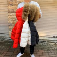 ingrosso giacche di pelliccia del neonato-2019 ragazze di inverno cappotti di pelliccia reali cappuccio neonati giacche bianche dell'anatra giù bambini scalda Outrewear Moda Snow Kids Clothes
