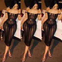 siyah xl kapalı omuz elbisesi toptan satış-Yaz Moda Sokak Siyah Renk Elbise Çizgili Patchwork Kadın Elbiseler Kapalı Omuz Slash Boyun Yüksek Bel Seksi Parti Elbise