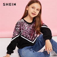 Wholesale sequin shorts for kids for sale - Group buy SHEIN Kiddie Contrast Sequin Casual Pullover Sweatshirts For Girls Tops Spring Korean Long Sleeve Kids Teenager