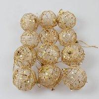 árbol de navidad adornos de bolas de oro al por mayor-6pcs / lot 5 cm de Navidad árbol de Navidad Piedras de bola de oro colgando colgantes ornamento partido Decoración