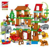 ingrosso illumina i giocattoli da costruzione in mattoni-GOROCK Jungle Animal Building Blocks FAI DA TE Enlighten Ragazzo duplo LegoIN Figure di Grandi Dimensioni Mattoni Regalo Del Bambino Giocattoli Compatibili per I Bambini