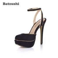 plataforma de zapatos de tacón italiano al por mayor-Batzuzhi Super Sexy Italian Style Women Pump Shoes 14cm Zapatos de tacón alto Zapatos de plataforma de verano para mujeres Party Slingback Buckle