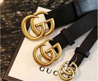 cinturones hebilla de oro larga al por mayor-2020 de la especificación de la correa de las mujeres de los hombres de moda y: 2,0, 3,0, 3,4, 3,8 cm de largo, cabeza del cerrojo 105-125cm, cinturón de oro, cuerpo negro