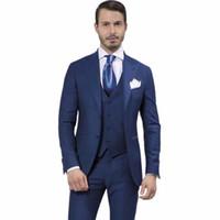 mavi sabah toptan satış-3 Adet Erkek Takım Elbise Moda Tasarım Lacivert Düğün Damat Smokin İnce erkekler suit Parti Elbise Sabah Tarzı (ceket + Pantolon + Yelek + Kravat)