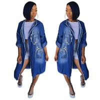 denim chaqueta de otoño para mujer al por mayor-Womens Jeans Chaqueta Ropa Casual manga larga del otoño del resorte de impresión de letras rebabas manera de las mujeres del dril de algodón de la chaqueta