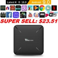 caja de tv android ethernet al por mayor-TTVBOX Android 9.0 TV Box Mini TX6 Android Smart TV Box de 2 GB 16 GB USB 3.0 2.4G 5G Wi-Fi 3D 4K Full HD H.265 100M Ethernet