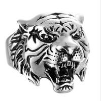 männer tiger ringe großhandel-Tiger Head Mens Rings - Edelstahl Verlobungsringe für Männer - (US-Größe 8-13) Punk Cool HipHop Animal Ring Schmuck