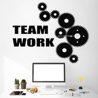 Wholesale wall poster background for sale - Group buy Gearwheel Team Work Murals Office Wall Decal Poster Working Room Background Decor Art Vinyl Sticker Wallpapers Removable