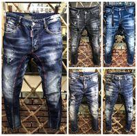 erkekler için düğmeler toptan satış-Lüks tasarımcı Moda Marka Şerit Düğmesi Erkekler moda Kot Yeni Yıpranmış Erkekler Düz Ince D2 Denim Pantolon Biker Eğlence Yıkanmış Pantolon Kot
