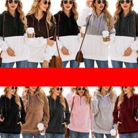 jersey de jersey esponjoso al por mayor-Mujeres Sherpa Pullover 1/4 cremallera Fleece sudaderas con bolsillo de la capa mullida paño grueso y suave del suéter de la manera de blusa suelta con capucha otoño invierno Tops C92608