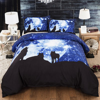Wholesale wolf animal bedding set king for sale - Group buy Howling Wolf Bedding Set Starry Sky Fantasy Mysterious Duvet Cover King Queen Full Twin Single Double Bed Cover with Pillowcase