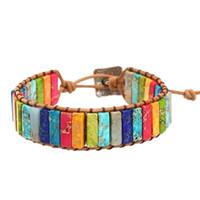ingrosso colore wristband regolabile-Braccialetto di perline regolabile a mano in jacquard impreziosito con cinturino in rilievo multistrato con cinturini in pelle color melanzana Pulsera