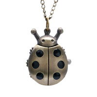 Wholesale pocket watches for online - Mini Shape Pocket Watch Funny Bronze Clock Pendant Necklace Lovely Children Watch Creative Gifts for Boys Girls Birthday