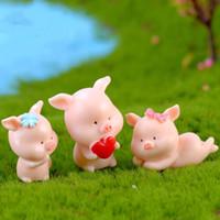 animais de jardim de resina venda por atacado-Mini 9 Estilos fofos animais piggy fada jardim miniaturas mini gnomos resina artesanato estatuetas para casa carro jardim decoração DHL Frete Grátis