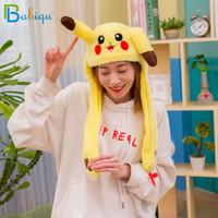 kinder bewegen sich großhandel-1 stück 60 cm Lustige Pikachu und Kaninchen Hut mit Ohren Moving Plüschtier Gefüllte Weiche Kreative Hut Puppe Nettes Geburtstagsgeschenk FÜR Kinder Mädchen