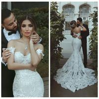 Wholesale plus size mermaid wedding dresses for sale - Gorgeous Sweetheart Lace Appliques Mermaid Wedding Dresses Custom Middle East Long Bridal Gowns Plus Size Vestidos De Marriage