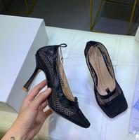 salto quadrado feminino venda por atacado-Estilete de cabeça quadrada Sexy com sapatos femininos moda salto alto sapatos de vestido de passarela estilo clássico quente (com caixa)