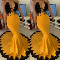 Wholesale prom dresses juniors resale online - New Arrival Yellow with Black Appliques Prom Dresses South African Girls Junior Graduation Party Gowns Mermaid Deep V Neck Evening Gown