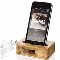 усилители оптовых-Телефон громкоговоритель держатель бамбук телефон док-станция настольная подставка поддержка деревянный громкоговоритель усилитель для iPhone Samsung смартфон