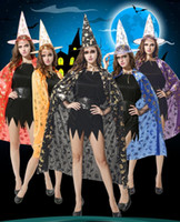 Wholesale halloween witch cosplay for women online – ideas halloween witch cloak for adult women girls kids pumpkin witch star cape fancy dress ball Vampire cloaks prop party cosplay costumes decor