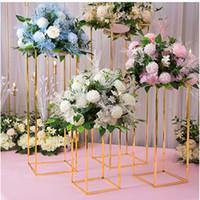 dekorasyon partisi merkezi toptan satış-Çiçek Vazo Zemin Vazolar Kısaca Metal Yol Kurşun Düğün Centerpiece Çiçek Olay Parti Dekorasyon için Raf Standı