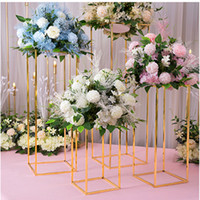 suportes de chão de flores venda por atacado-Vaso de flor Piso Vasos Breve suporte de metal Estrada casamento chumbo Centerpiece flor da cremalheira para o evento Decoração do partido