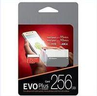 cartão sd de varejo de 128gb venda por atacado-Dropship 1 pcs Preto Vermelho EVO Plus U3 16 GB 32 GB 64 GB 128 GB 256 GB C10 TF Cartão de Memória Flash Classe 10 Adaptador SD Livre Pacote de Blister de Varejo