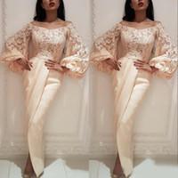 Wholesale pregant dresses resale online - Sheath Evening Gowns Prom Dresses Off Shoulder Long Puffy Sleeves Saudi Arab Dubai Women Pregant Party Dress