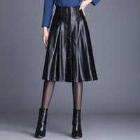 Wholesale button words resale online - Fashion Women s PU Leather Skirts Autumn Winter New Fashion A Word Skirt Women Temperament OL Office Lady Leather Skirts