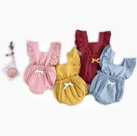 Wholesale newborn size clothing online - INS baby girls lovely rompers cotton denim pure solid color newborn backout one piece clothes infant toddler jumpersuit