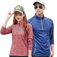 Wholesale collar coupling shirt for sale - Group buy Couples Cashmere Sports Wear Rock Climbing Outdoor Super Light Stand Collar T Shirt Summer Wear Resisting Breathable Athletic Wear blH1
