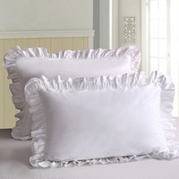 Wholesale ruffled pillowcases for sale - Group buy 2Pcs White Pillowcase Bedding Cotton Solid Ruffle Pillow Sham Princess European Pillow Cover Protector cm Pillow Case
