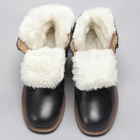 Wholesale russian snow boots resale online - Natural Wool Snow boots Size Warmest Genuine Leather Russian Style Men Winter Snow Boots YM1570