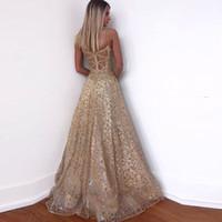 ingrosso abiti arabi dubai-Bling L'oro sera Prom Gowns Mermaid maniche Backless partito Cerimonia Cena 2019 cinghie Celebrity arabo Dubai Plus Size Wear