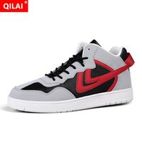 Wholesale street dancing shoes for sale - Group buy 2019 high help street dance shoes men s shoes contrast color stitching casual male sneakers outdoor casual