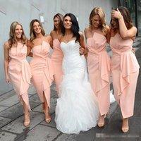 seksi straplez kısa gelinlik elbiseleri toptan satış-2019 Afrika Seksi Saten Kısa Plaj Gelinlik Modelleri Straplez Ucuz Artı Boyutu Arapça Parti Örgün Düğün Konuk Elbiseleri BM0363
