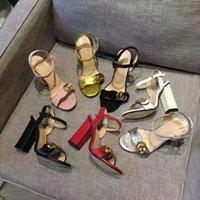 tıknaz pompalar toptan satış-Yeni Gelenler 2019 Gerçek deri Tıknaz Sandalet Kadınlar seksi Tasarımcı Düğün Ayakkabı Seksi yaz ayakkabı Mektuplar Sandalet yüksek kalite pompalar
