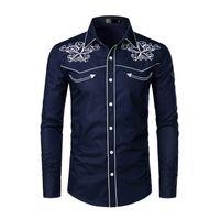 ince sığan kovboy gömlekleri toptan satış-Erkek için şık Batılı Kovboy Gömlek Erkekler Marka Tasarım Nakış Slim Fit Casual Gömlek Modelleri Erkek Düğün Gömlek