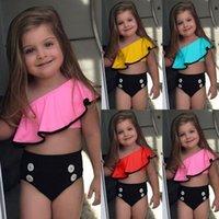 meninas vestido de banho franzido venda por atacado-Meninas Swimwear 2019 Novo Verão Crianças Slanted Ombro Ruffled Swimsuit Crianças Candy Top + Botão sungaTwo-piece Swimwear 4 Cores