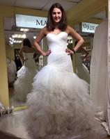 jupe plissée taille plus kaki achat en gros de-2019 Robes De Mariée Sirène Modeste Avec Sweetheart Etage Longueur Plisse Tulle Jupe Plus La Taille Robes De Mariée