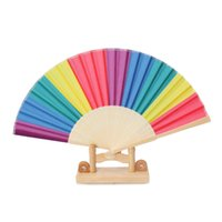 Wholesale chinese wedding giveaways for sale - Group buy New Arrival Chinese Style Colorful Rainbow Folding Hand Fan Party Favors Wedding Souvenirs Giveaway For Guest