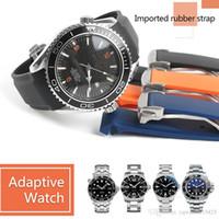 оранжевые наручные часы оптовых-20 мм 22 мм ремешок для часов полосы Мужчины Женщины оранжевый черный водонепроницаемый силиконовая резина ремешки браслет застежка пряжка для Omega Planet-Ocean Tools