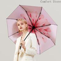 ingrosso ombrello rosa chiaro-Ultra leggero sole unico ombrello pioggia portatile rosa donne 3 5 pieghevole pioggia pioggia ombrello mini protezione solare protezione uv u5b