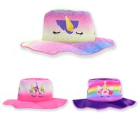 Wholesale beanie caps resale online - Unicorn Bucket Hat kids Holographic Festival Party Sun l Hat Cap Accessories For Girls Truck Hat LJJK1758