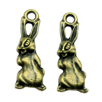 bronz antik tavşanlar toptan satış-150 adet Charm Tavşan Vintage Tavşan Charms Kolye Takı Yapımı Için Antik Bronz Renk Tavşan Charms 8x25mm