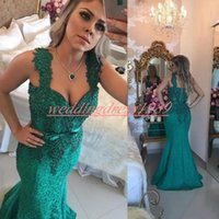 Wholesale water sheath prom dress for sale - Group buy Stunning Lace Beads Mermaid Evening Dresses Occasion Green Straps Pageant Prom Gowns Robe de soirée Party Plus Size Formal Wear