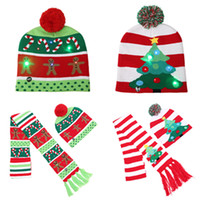 Wholesale crochet reindeer hats for sale - Group buy LED Christmas Knitted Hat Scarf kid Adults Santa Claus Snowman Reindeer Elk Festivals Hats Xmas Decorations Party Hats Scarf