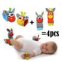 chocalhos de pulso do bebê venda por atacado-Chegada nova Brinquedo Do Bebê Rattle Rattle Set Bebê Brinquedos Sensoriais Foot-finder Meias de Pulso Pulseira de Presente